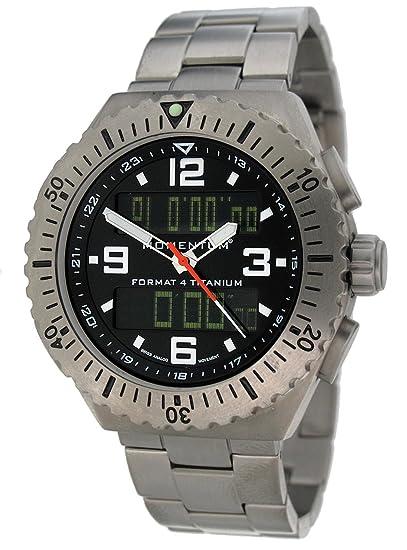 Momentum 1M-SP24B0 - Reloj analógico y digital de cuarzo para hombre con correa de titanio, color gris: Amazon.es: Relojes