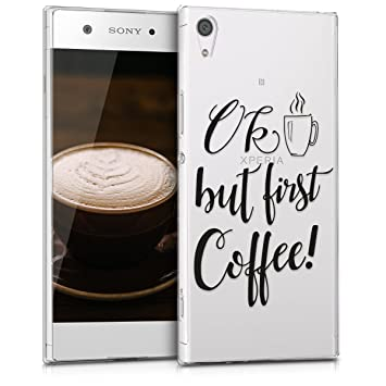 kwmobile Funda para Sony Xperia XA1 Ultra - Carcasa de [TPU] para móvil y diseño Ok Coffee en [Negro/Transparente]