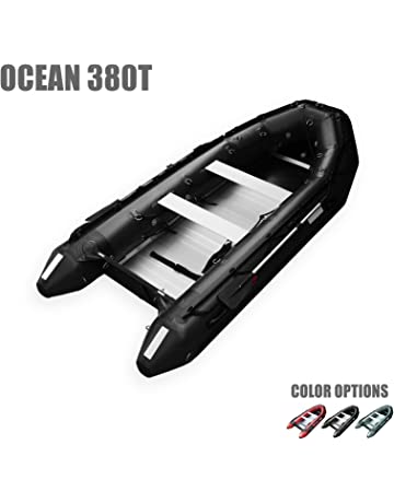 SEAMAX Ocean380T 12.5 Feet Commercial Grade Inflatable Boat, 5 Pontoon Chambers, Aluminum Floor,