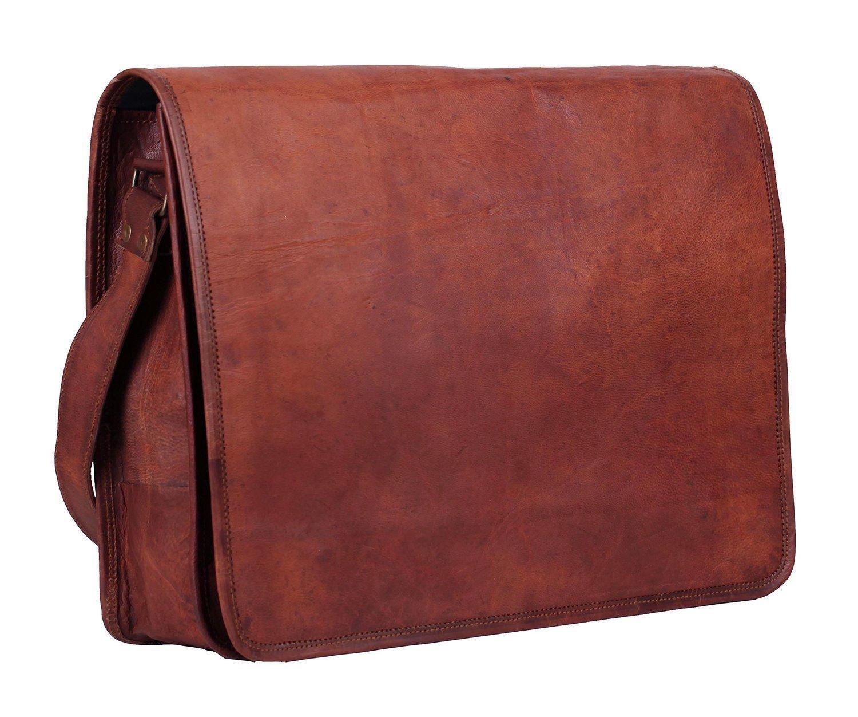 HTL Leather Full Flap Messenger Handmade Bag Laptop Bag Padded Messenger School Bag 15X11X4 Inches