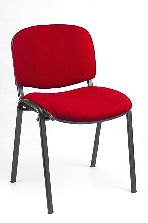 10x Besucherstuhl Stuhle Konferenzstuhl Buromobel Stapelbar Rot