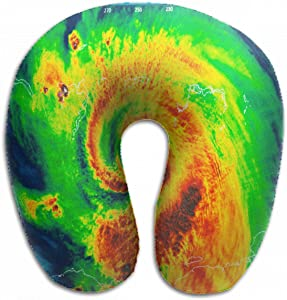Emvency U-Shaped Travel Neck Support Pillow Geocolor Eye Hurricane Irma This Airplane 12x11.5 Inch Soft U-Pillows with Rebound Material for Kids Adults