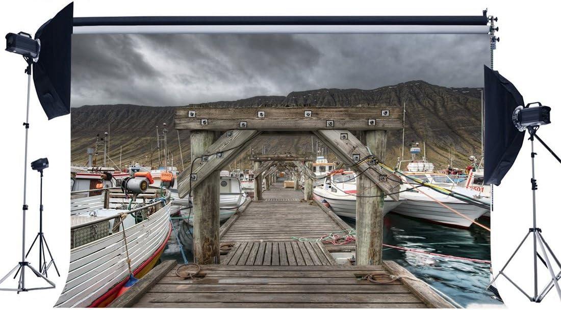 Wofawofa Harbour Seaport Backdrop 10X8FT Vinyl Seaside White Ship Backdrops Weathered Wood Bridge Fishing Mountain Photography Background for Adults Outdoor Tour Tourism Photo Studio Props KX1003