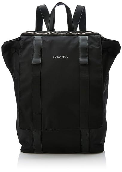 Calvin Klein - Braced F Backpack, Mochilas Hombre, Negro (Black), 18x29x45