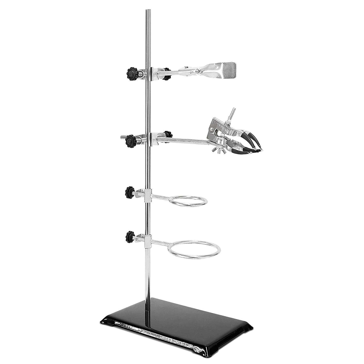 Rod Lab Support Stand Dia 3.15 inch Flask Clamp Length 23.6 inch 3 Resort Rings Dia2.2//3.0 inch 8.7inchx5.6inch Wisamic Laboratory Retort Stand A-3 Lab Clamp Retort Dia 1.77 inch