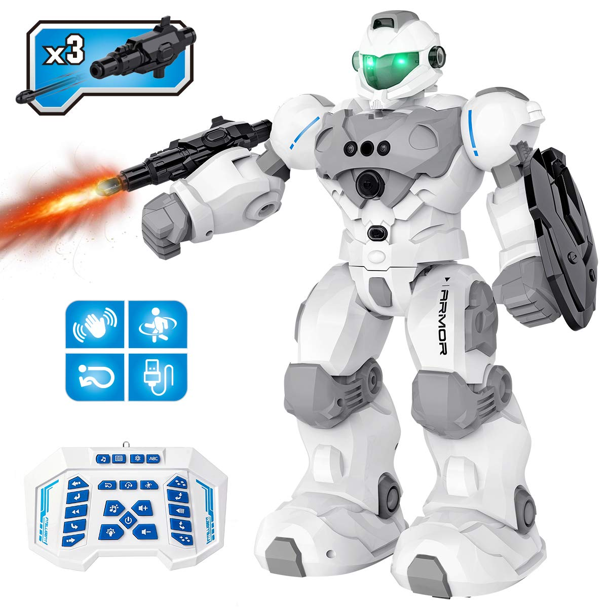 RC Robot Toy for 4 5 6 7 8 9-12 Year Old Kids, Remote Control Robot Intelligent Programmable Robot w/ Gesture Sensing, Dancing, Singing, Smart Robot Gifts for Kids Boys Girls(Gray)