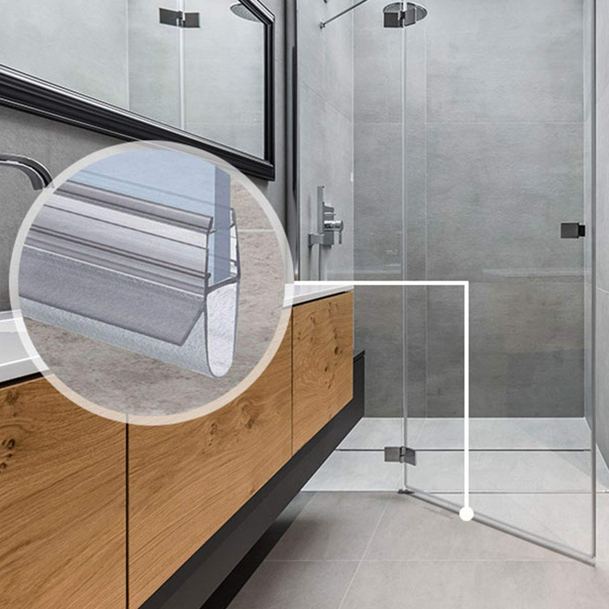 /Cabina de ducha steigner 100/cm Junta de repuesto para 5/mm//6/mm//7/mm//8/mm grosor del cristal deflectores de agua Ducha Junta uk17/72648/