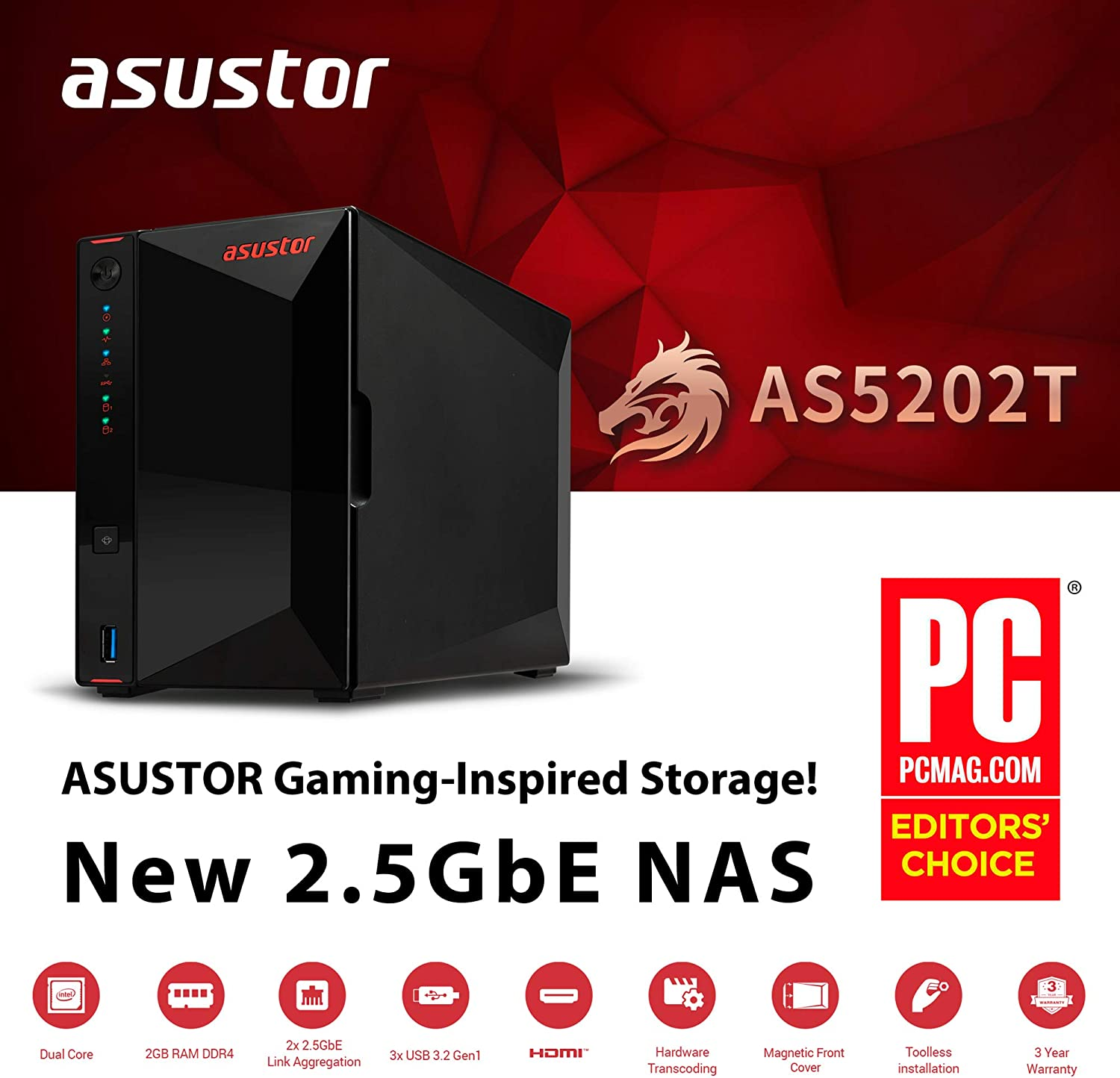 Asustor NAS AS5202T NAS + 4TB Two 2TB HDD Included 4TB Ironwolf HDD