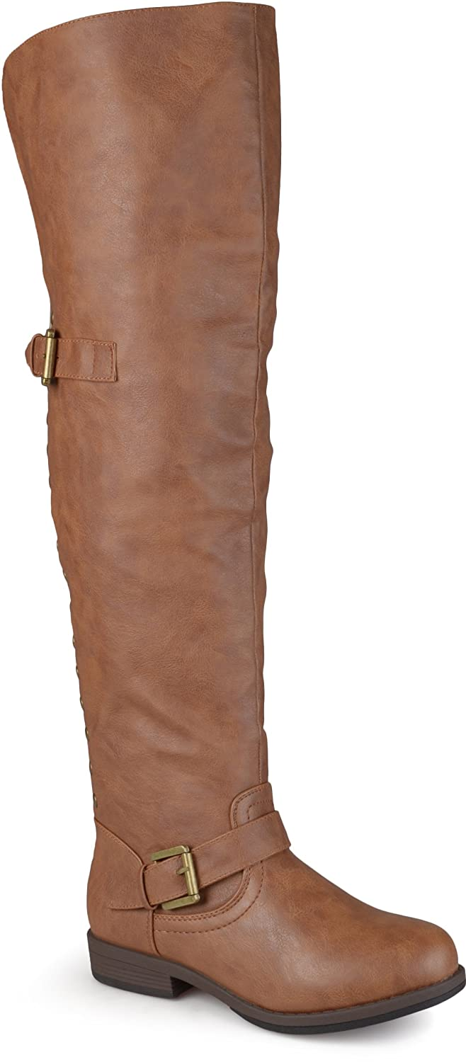 Women's Chestnut Studded Over-the-Knee Inside Pocket Buckle Faux Leather Boots