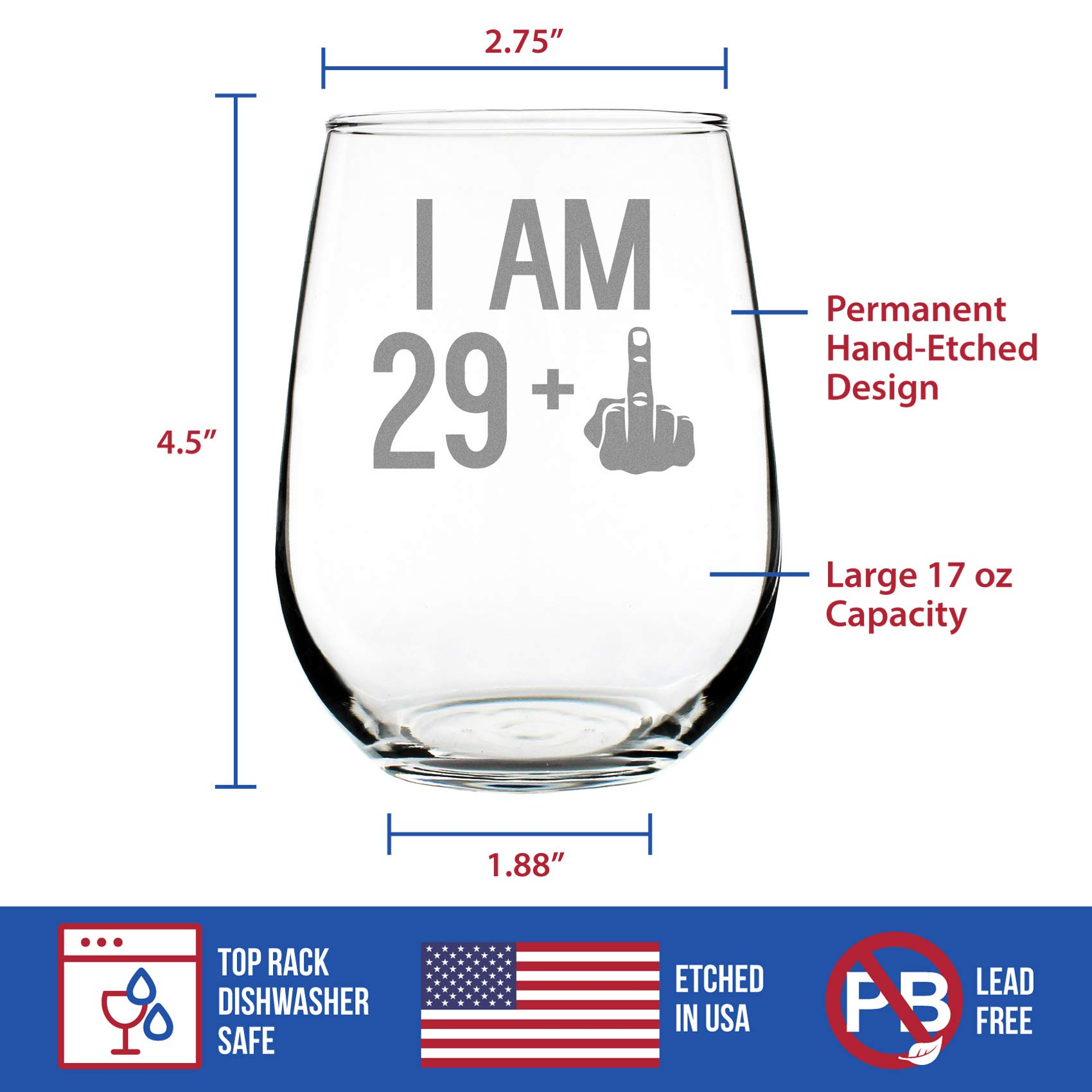 29 + One Middle Finger | 30th Birthday Stemless Wine Glass for Women & Men | Cute Funny Wine Gift Idea | Unique Personalized Bday Glasses for Best Friend Turning 30 | Drinking Party Decoration by Bevvee (Image #4)