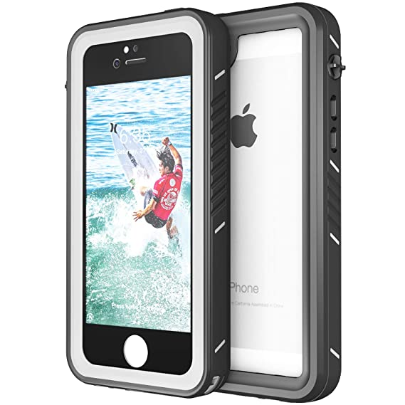 Eonfine Waterproof Case for iPhone 5S/SE, Shockproof Protective Full-Sealed  Hard Cover, Underwater IP68 Certificated with Touch ID Snow Dust Dirty