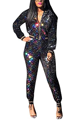1495a2c9f5 DingAng Women's Sequin Tracksuit Zipper Jacket and Metallic Shiny Pants 2 Piece  Outfits Clubwear (Black