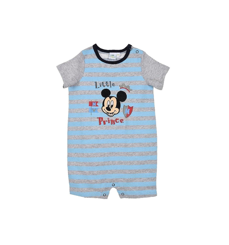 Barboteuse b/éb/é gar/çon Disney Mickey Gris et Bleu de 3 /à 18mois