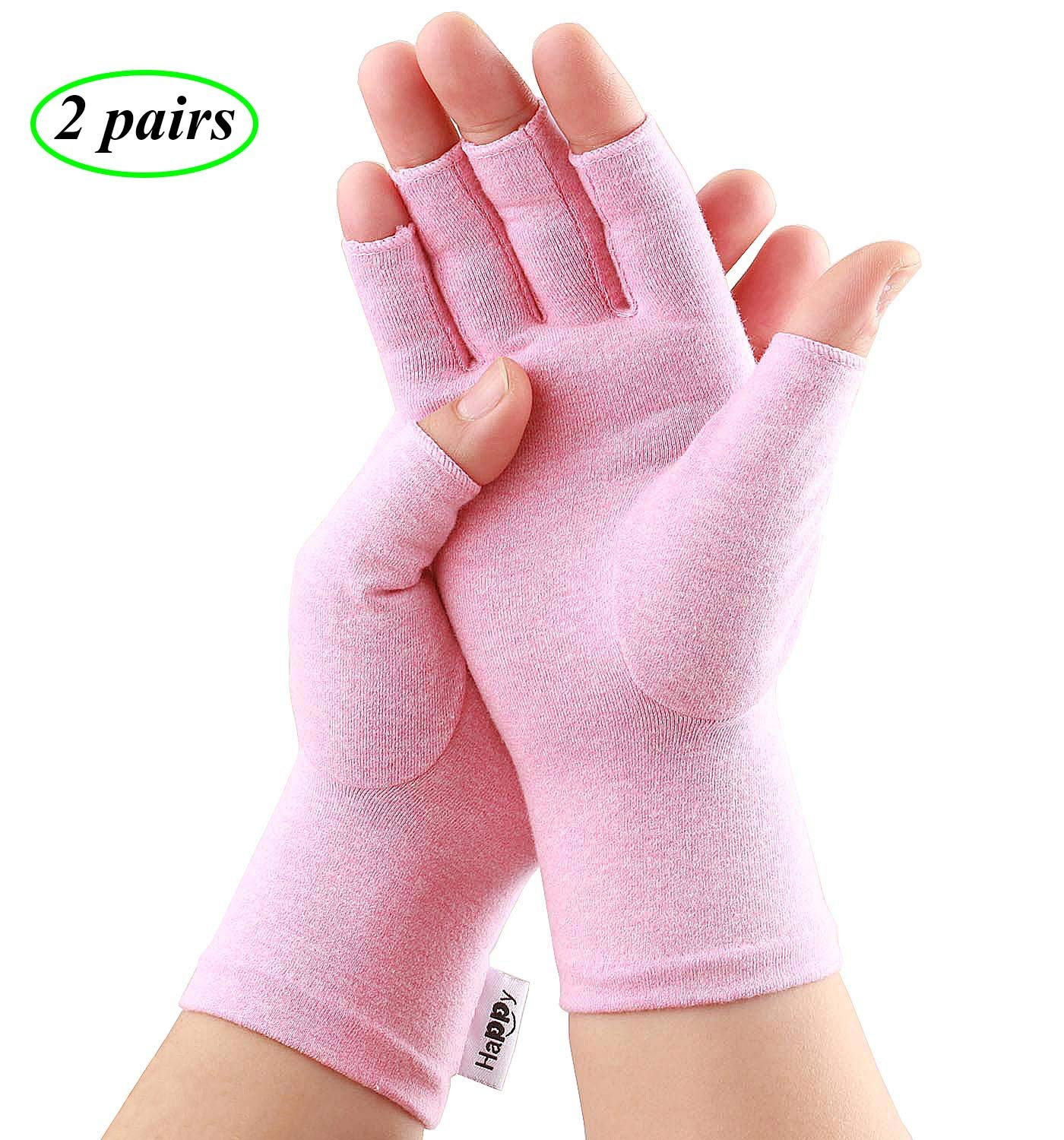 2 Pairs Compression Arthritis Gloves, Fingerless Gloves for Women Rheumatoid & Osteoarthritis - Joint Pain and Carpel Tunnel Relief Hand Gloves for Men (Pink, Medium-2 Pairs) by Happymart