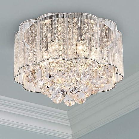 Cristal moderno Raindrop Araña Iluminación Montaje empotrado Lámpara de techo de techo Lámpara colgante para el comedor Cuarto de baño Dormitorio ...