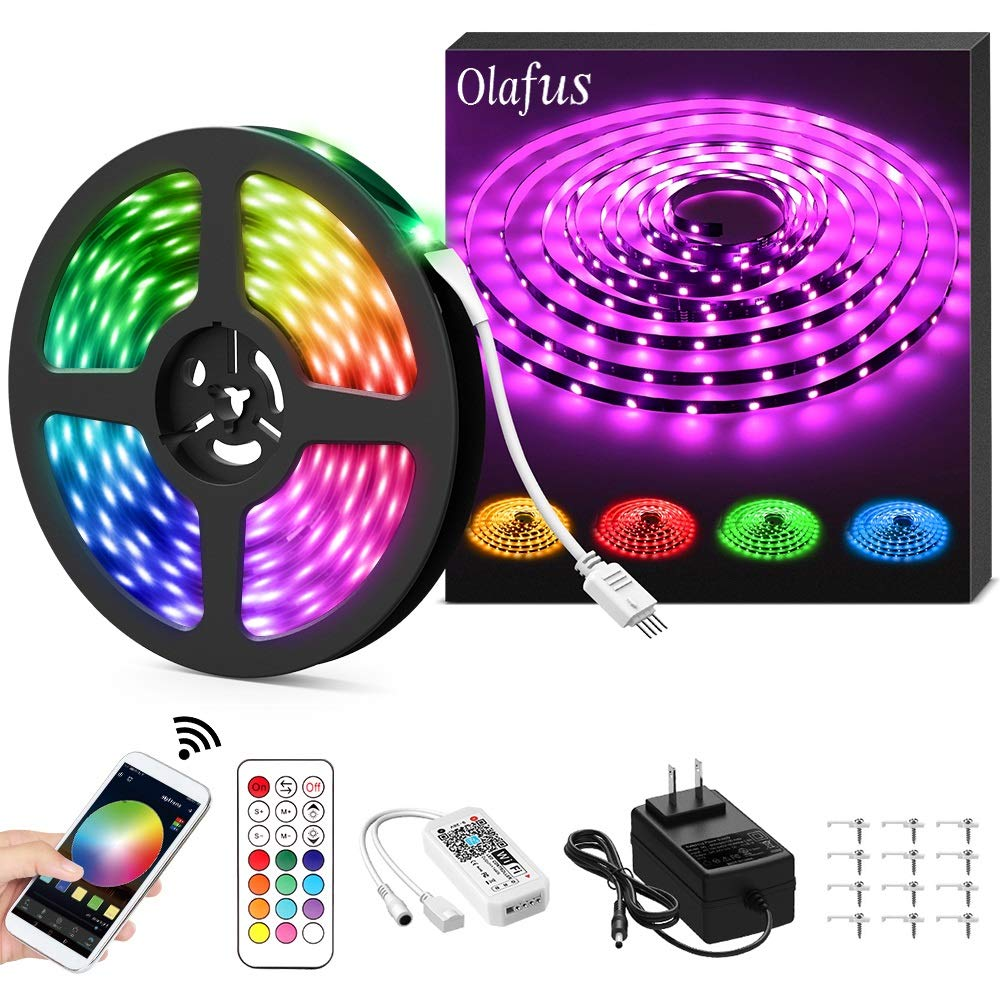Olafus Ambient RGB LED Strip Light 32.8ft Kit, Smart WiFi Wireless App Control Music Light Tape, Compatible with Alexa/Google Assistant, 16 Million Color Changing Dimmable 300 LEDs 5050 Remote Control by Olafus