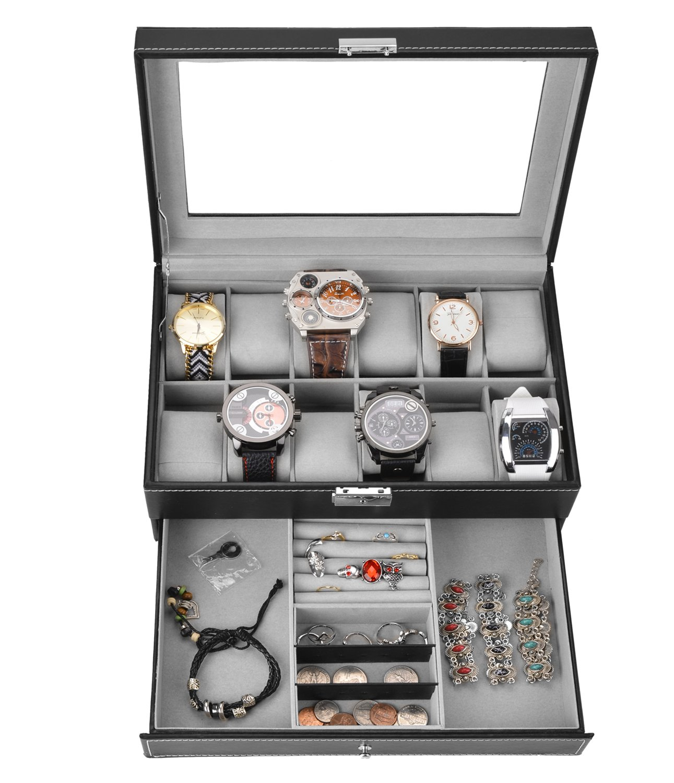 WatchBoxBlackLeather Watch Display Box 12 Slot Watch Organizer LockableJewelryCasew/GlassTop Drawer, Wedding Birthday Gifts for Men Women, Dad Husband Grandpa (Black) by Coxeer (Image #3)