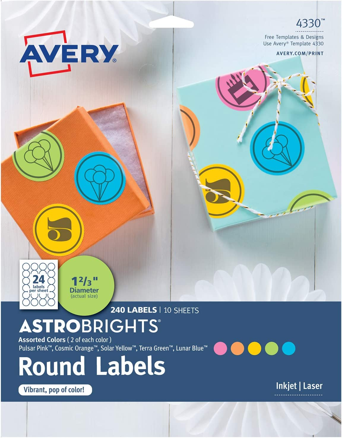 """Avery Astrobrights Round Labels, Assorted Colors, 1-2/3"""" Diameter, 240 Labels - Make Custom Stickers (4330)"""