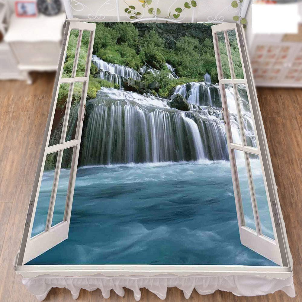 iPrint Bedding Duvet Cover Set 3D Print,Landscape Through A Window Imaginary Secret,Fashion Personality Customization adds Color to Your Bedroom. by 70.9''x78.7''