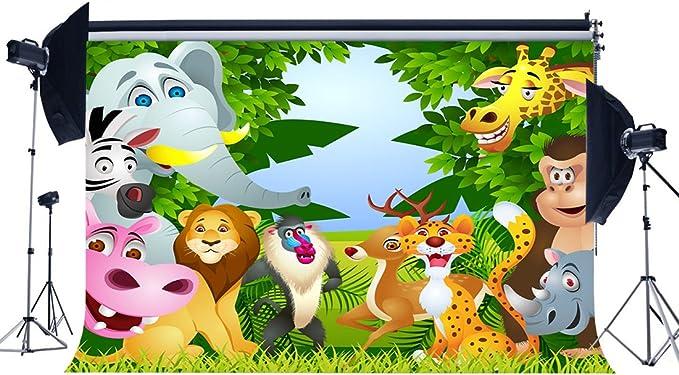 SZZWY Vinyl 7X5FT Zoo Park Backdrop Animals World Backdrops Cake Smash Giraffe Jungle Forest Green Grass Meadow Cartoon Photography Background for Boys Girls Happy Birthday Photo Studio Props YX526