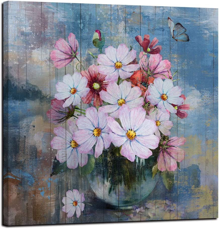 """Anolyfi Canvas Wall Art Pink Flowers Picture Butterfly Painting Retro Prints Framed Artwork for Bathroom Kitchen Dinning Room Living Room Office Home Decor- 14""""X14"""", One Panel, Gallery Wrapped"""
