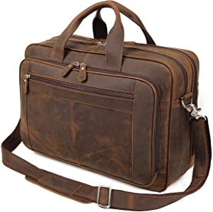 Augus Business Travel Briefcase Genuine Leather Duffel Bags for Men Laptop Bag fits 15.6 inches Laptop YKK Metal Zipper (Dark brown)