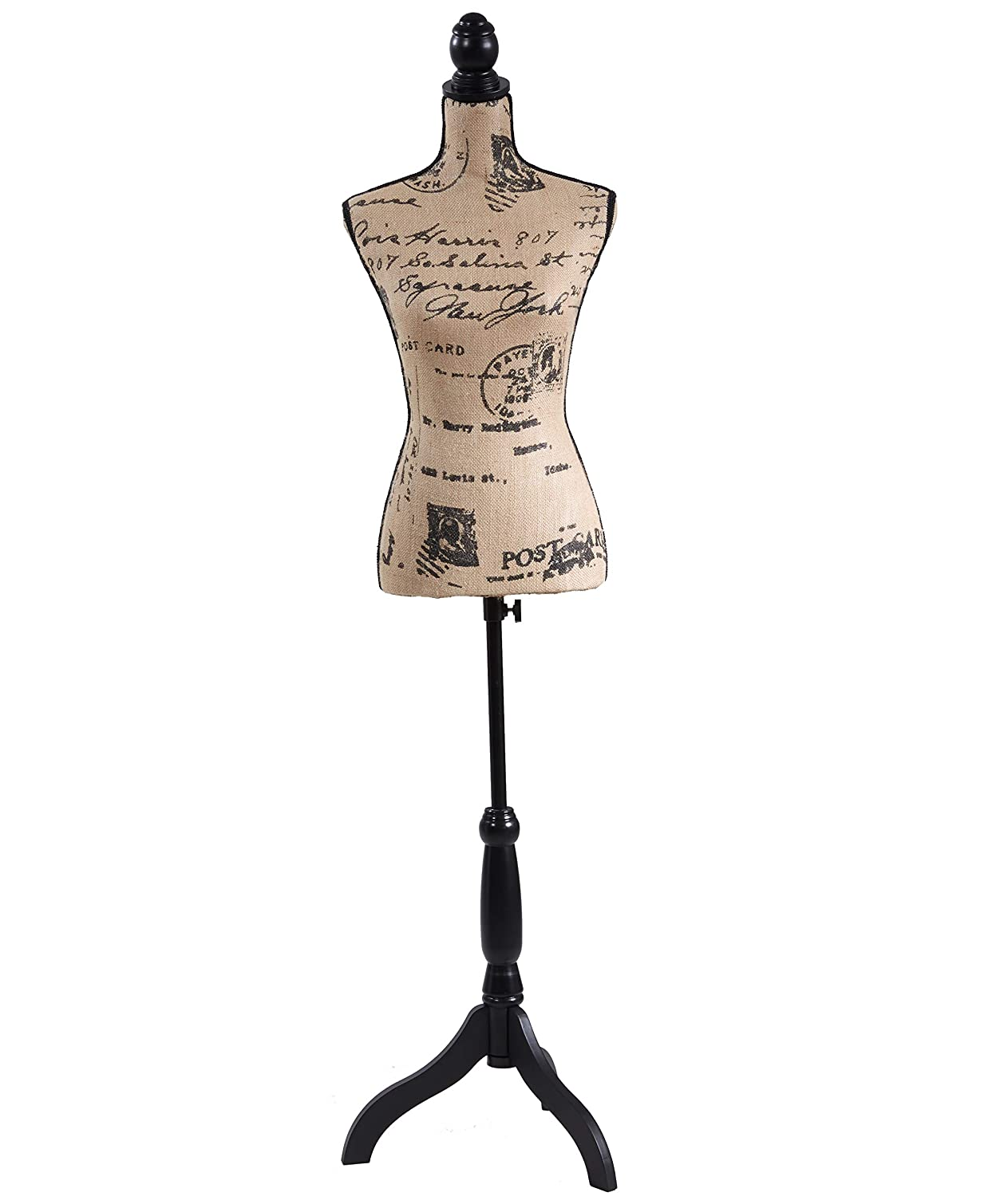 Adjustable Female Dress Form Pinnable Mannequin Body Torso with Wooden Tripod Base Stand (Gray Line)