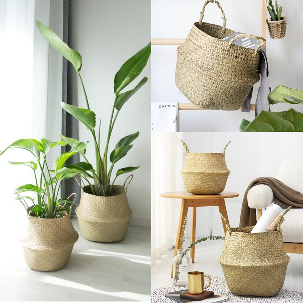 VNSea Natural Seagrass Belly Basket for Storage, Laundry, Picnic, Plant Pot Cover, and Woven Beach Bag (Large)