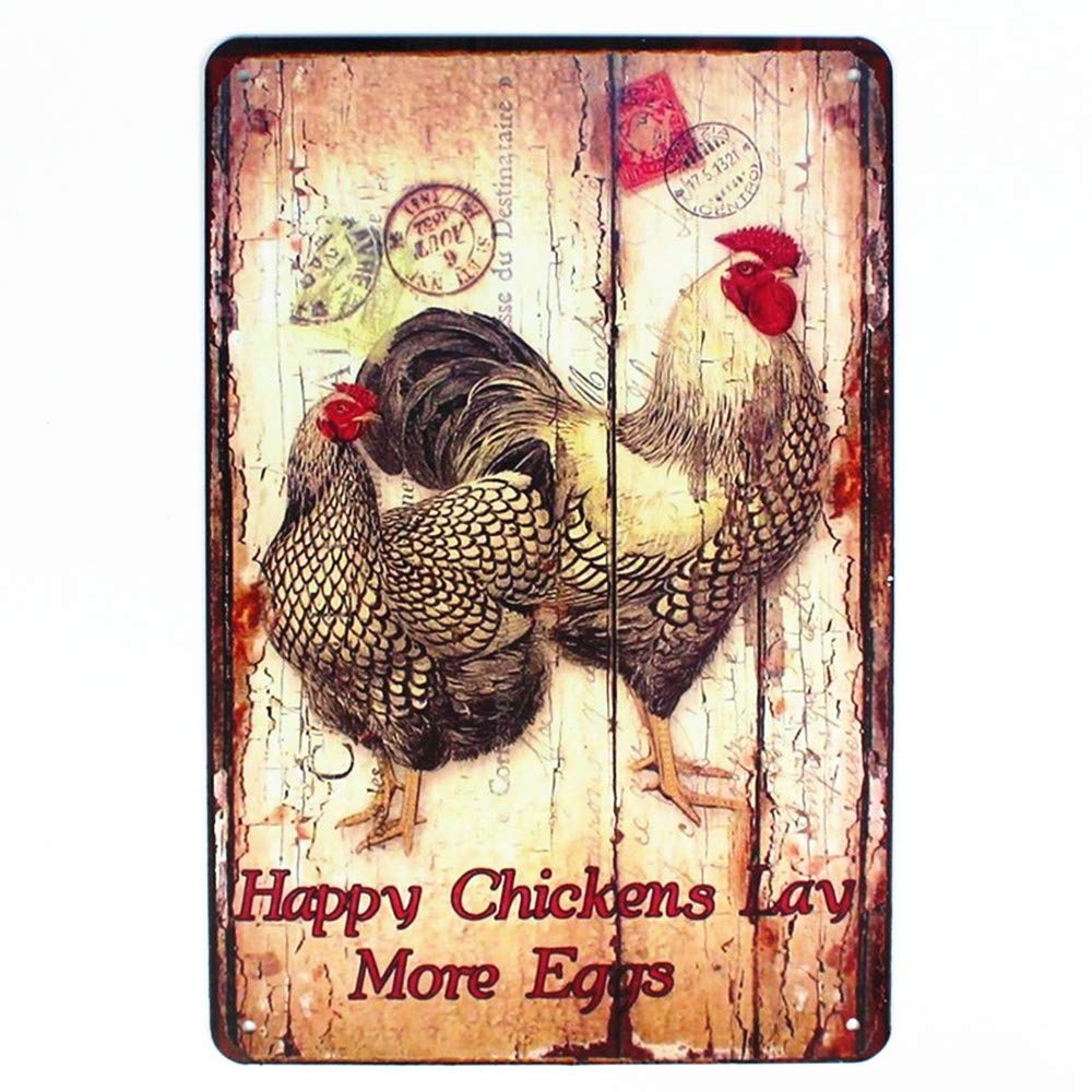 "Happy Chickens Lay More Eggs, Rooster Metal Tin Sign, Wall Ornament Farm Coffee & Bar Decor 8"" X 12"""
