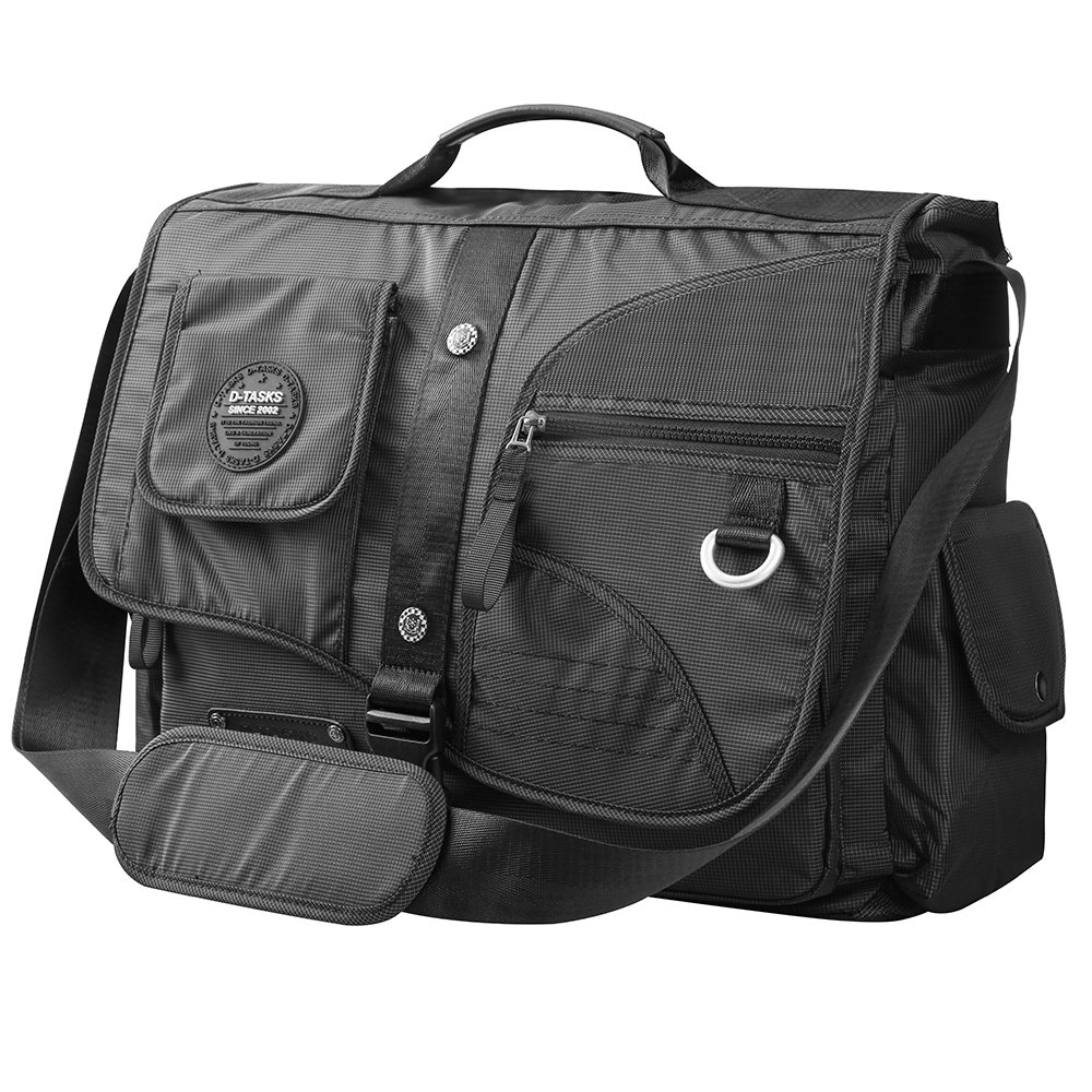 Large Messenger Bag, Linshi Tasks Tactical 17 inch Water Resistant Laptop Shoulder Bag Black