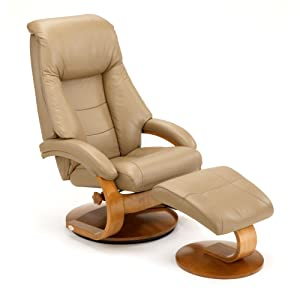Top Grain Leather Swivel, Recliner with Ottoman and Storage Table Sand