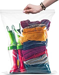 "{ 100 Count } Large Zip & Lock Bags, Big Food Storage Bags, 16""x18"" Clear 100 Count"