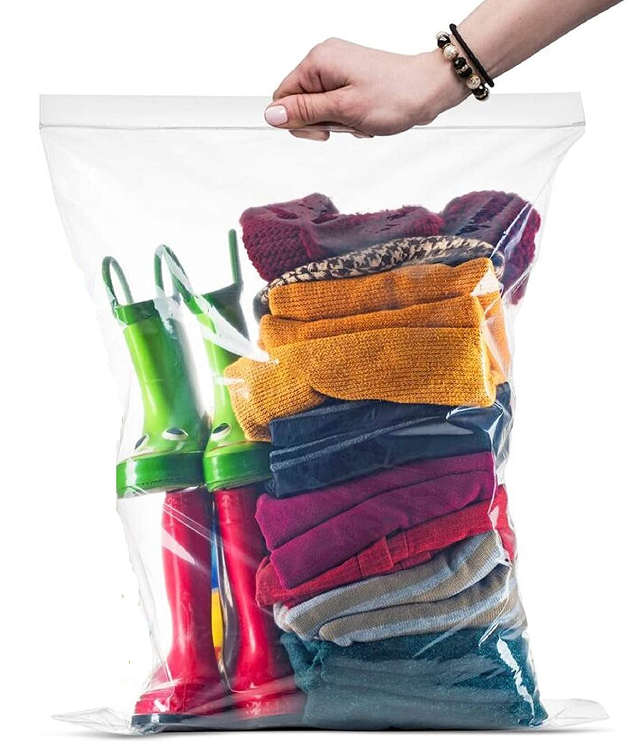 "[PACK OF 25] Extra X-Large Big 5 Gallon Ziplock Bags For Food Prep, Travel, Organization, Moving or Storage, 2 Mil. Thick, 18"" x 24"","