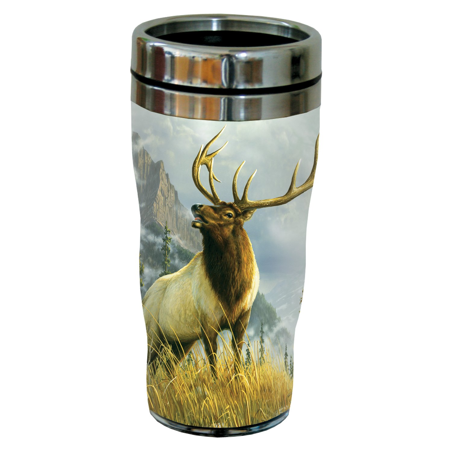 Tree-Free Greetings 77046 High Country Elk by James Hautman Vintage Art Sip 'N Go Travel tumbler, 16-Ounce, Stainless Steel, Multicolored