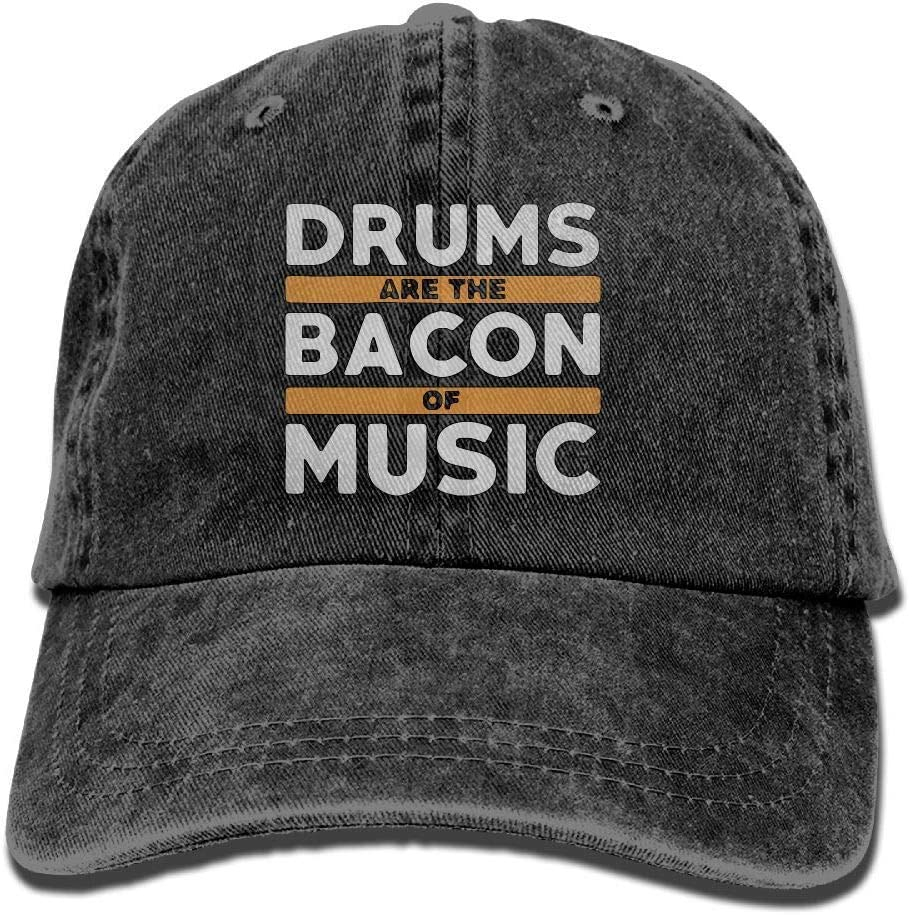 Drums are The Bacon Music Unisex Washed Twill Cotton Baseball Cap Vintage Adjustable Dad Hat