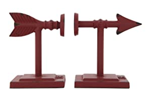 Creative Co-op Shaped Cast Iron Metal Arrow Bookends, Red