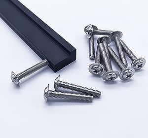110 piezas Qrity M4 Tornillos de la manija Tornillo de la m/áquina para muebles Caj/ón Gabinete Perilla Manija Cocina Ba/ño M4X22mm 60piezas, M4x25mm 50piezas
