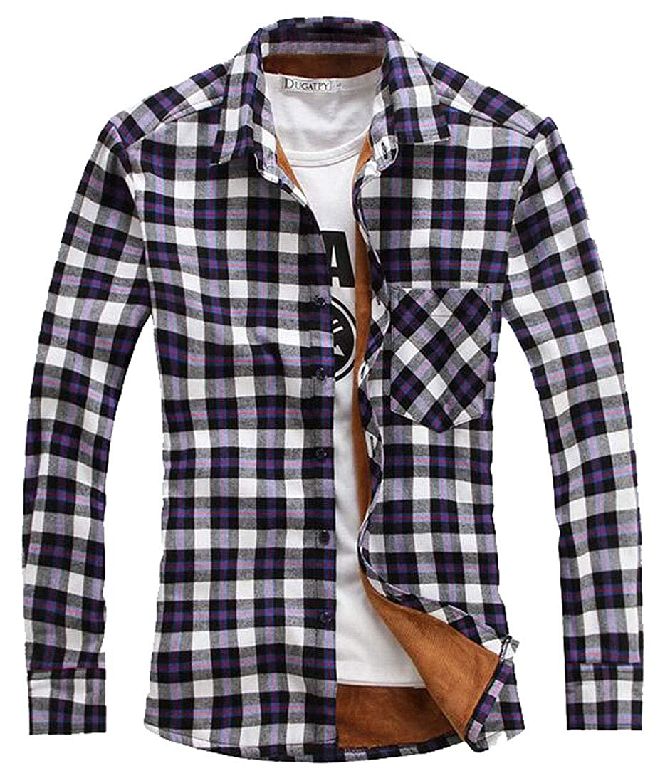 ARTFFEL Mens Checkered Faux Fur Lined Flannel Long Sleeve Button Down Dress Shirts