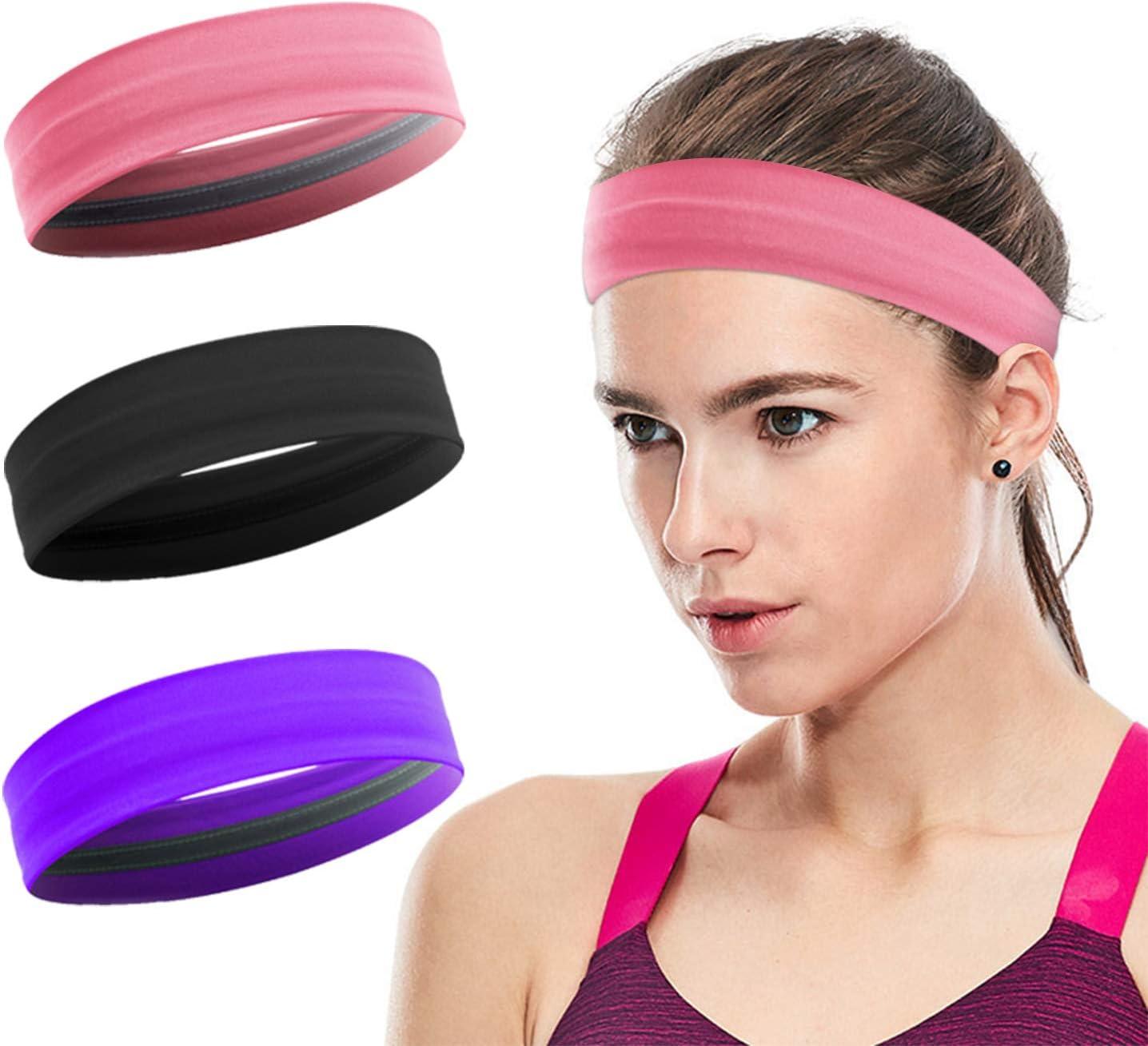 Fitness Athletic Yoga 3 Pack Stay Put Sweatbands for Women Bike Non-Slip Elastic Sweat Band Head Bands for Sports Head Bands Women Hair XIXOV Workout Headbands for Women