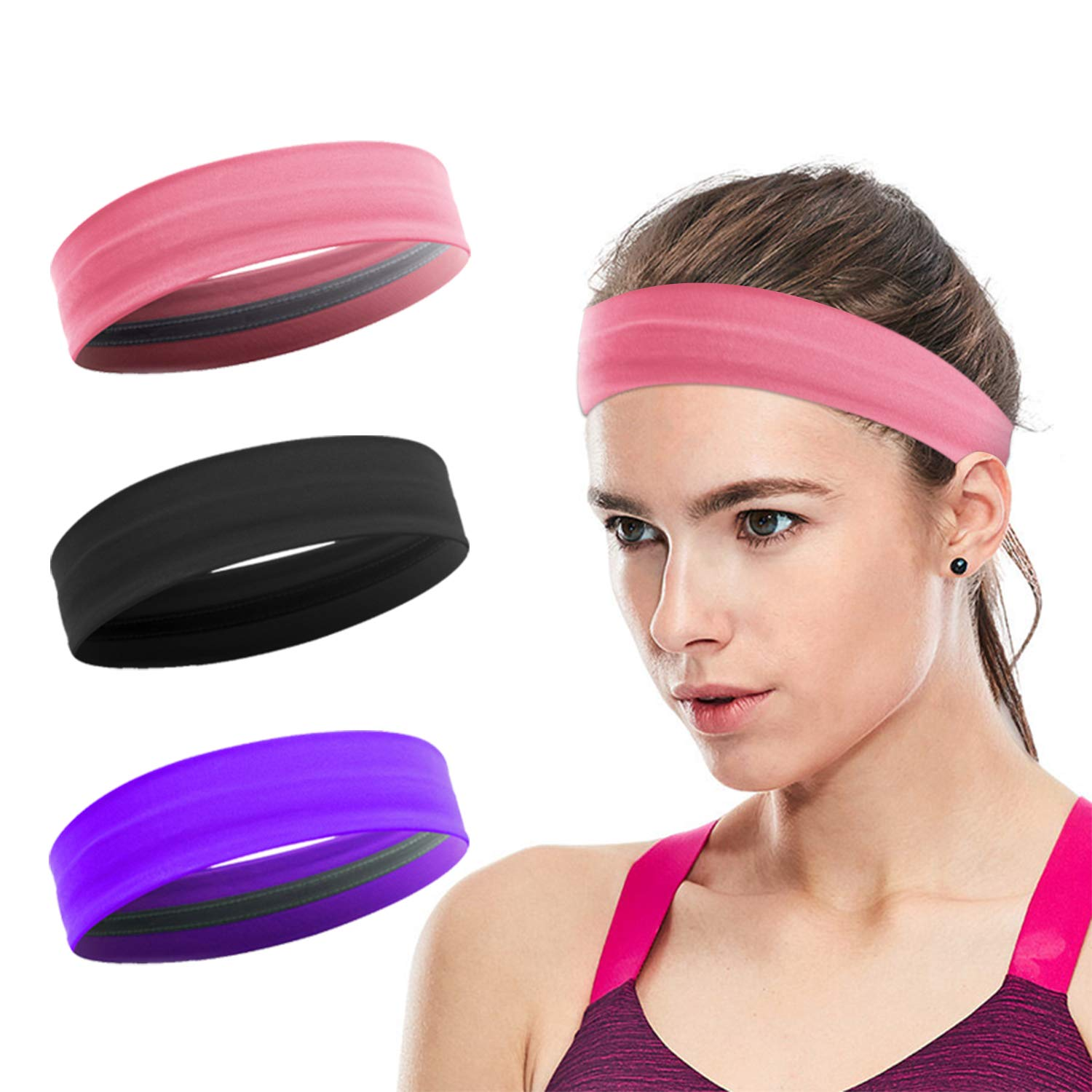 XIXOV Workout Headbands for Women, 3 Pack Stay Put Sweatbands for Women, Head Bands Women Hair, Non-Slip Elastic Sweat Band Head Bands for Sports, Yoga, Fitness, Athletic, Bike