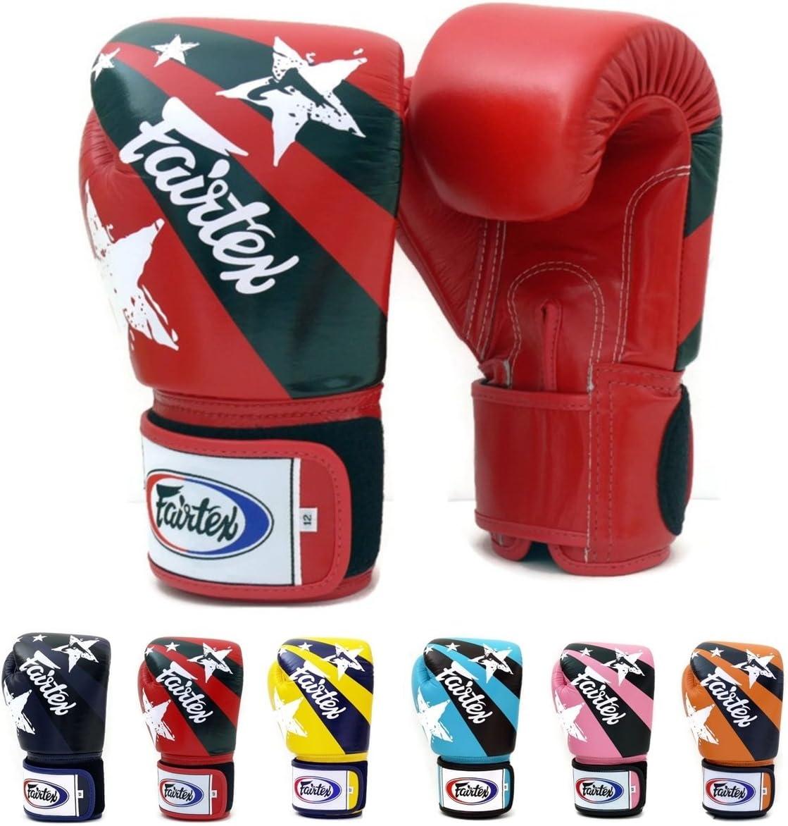 (300ml, 赤 Nation Print) - Fairtex Muay Thai Boxing Gloves BGV1 Colour: 黒 青 白い 赤 Classic 褐色 Emerald Falcon ピンク 黄 オレンジ Thai Pride USA Flag Size: 10 12 14 470ml Training & Sparring All Purpose Gloves for Kick Boxing MMA K1 Tight Fit