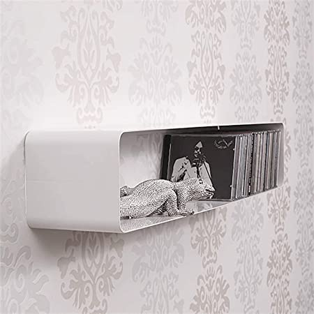 Etagere Cd Murale Cube Blanc 120 Cm Metal Laque Style Retro Style 70s Pour 100 Cds Amazon Fr Cuisine Maison