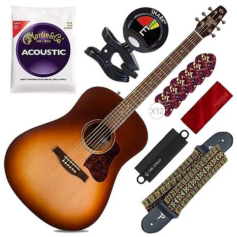 Guitarra acústica Seagull Entourage con ráfaga de otoño + afinador ...