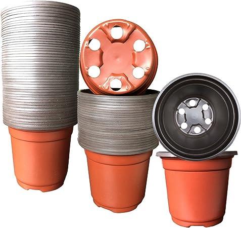 Amazon.com: Maceta de plástico para plantas pequeñas, 100 ...