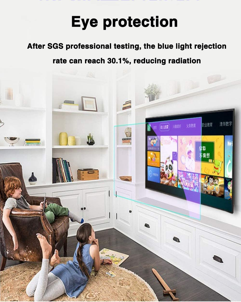 LED CUUYQ 50 Inches TV Screen Protector Non-Glare Anti-Blue Light Ultra-Clear Protector Film Anti-Scratch Eye Protection for LCD OLED /& QLED 4K HDTV,A