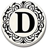"""CounterArt 'Initially Yours' Absorbent Stoneware Car Coaster, Monogrammed """"D"""""""