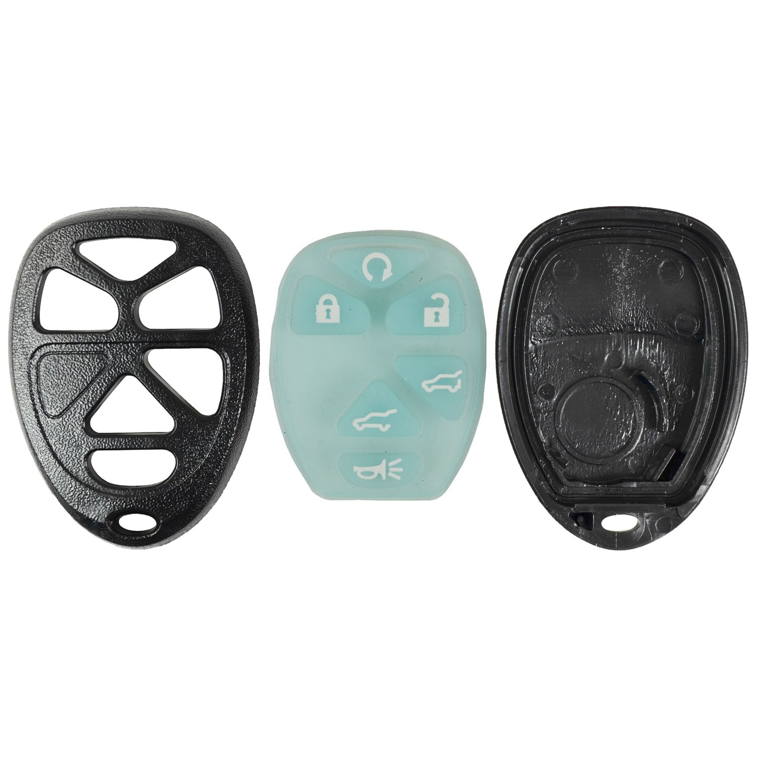 qualitykeylessplus Blue Replacement Case and Glow Pad 6 Button SUV Keyless Remote Key Fob FCC ID OUC60270 FREE KEYTAG