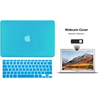 Protector Funda Case para Macbook + Protector Skin Cover de Teclado en Español + Webcam Cover AntiSpy Azul Aqua Macbook Air 13'' Model: A1369 / A1466