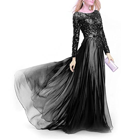 Fanciest Womens Crystal Lace Evening Dresses With Long Sleeves Prom Gowns Black US2