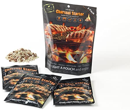 Charcoal starter and Emergency Fuel Pack of 6 InstaFire Fire starter